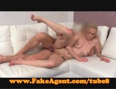 Dumb blonde babe casted and fucked in the couch