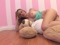 Hot blonde still knows how to play with toys